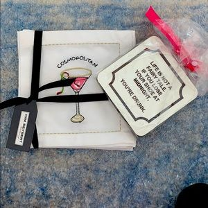2 sets of cute cocktail napkins coasters NEW